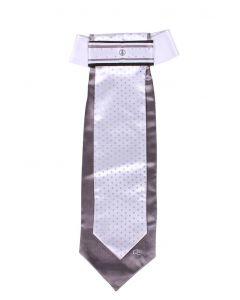 QHP Plastron Dotted Weiß/grau S